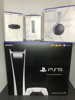 PlayStation 5 DIGITAL Edition + Accessories ( Headphones HD Camera Charging Station) for Sale in Boca Raton, FL