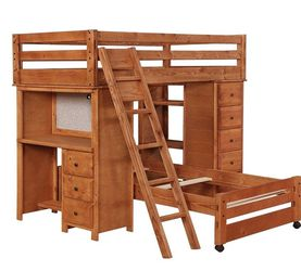 Coaster twin wooden loft bed with desk and several storage shelves - Amber wash finish for Sale in Tampa,  FL