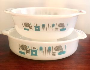 Blue Heaven Fire King Milk Glass Casserole Dish Mid Century Atomic Design (set of two) for Sale in Tampa, FL