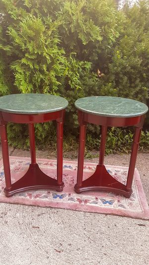 Set of Jade Marble/Cherrywood Side Tables for Sale in Parma, OH