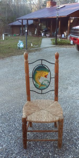 2 hand woven cane bottomed chairs with hand painted fish for Sale in Elliston, VA