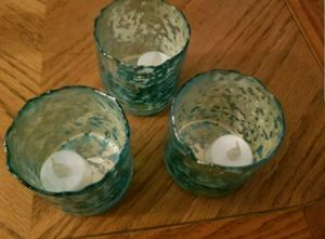 Set of 3 mercury glass teal candle holders with flameless candles for Sale in Tempe, AZ