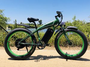 New FAST custom eBike, 2000watt motor 67v lithium battery electric bicycle cruiser mountain bike downhill fat tire matte green military for Sale in Garden Grove, CA