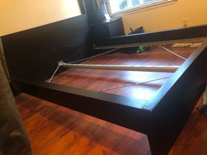 Free Queen ikea bed frame black/dark brown for Sale in San Jose, CA