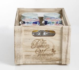 Pioneer woman wooden crate and 4 jars for Sale in Alpharetta, GA