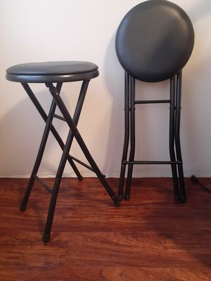 Pair(2) counter height black folding portable stools/across frm Pepsi Plant for Sale in McKees Rocks, PA