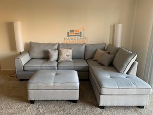 Brand New Light Grey Linen Sectional Sofa Couch + Storage Ottoman for Sale in Silver Spring, MD