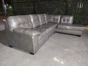Gray pleather sectional w/ FREE DELIVERY for Sale in Sacramento, CA