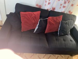 Black love seat and couch pillows included for Sale in Baltimore, MD