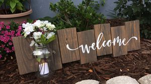 Handmade wooden welcome sign with mason jar for Sale in Spring Hill, FL