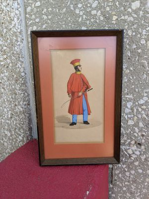 Framed. Antique.  European original print.  Stunning red and blue gentleman. 8 x 13 inches. for Sale in San Antonio, TX