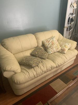 Ivory leather couch for Sale in Centreville, VA