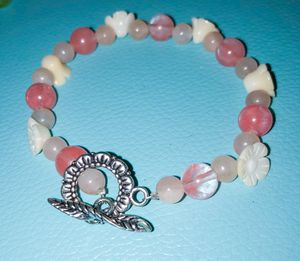 Handmade bracelet. Made with quartz crystal and shell for Sale in Warrenton, VA
