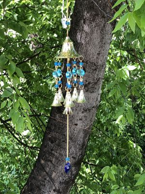 Chakra Colored Translucent Clear Blue Beads & Brass Bells Wind Chime Sun Catcher Mobile for Sale in Nashville, TN