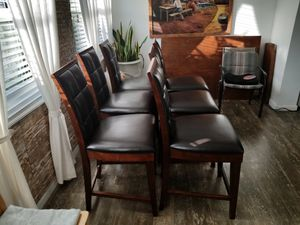 Wood and leather chairs for Sale in Hollywood, FL