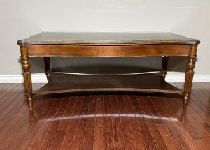 Dark Brown Solid a Wood 2-Tier Coffee Table w/ Lower Shelf Storage for Sale in West Linn, OR