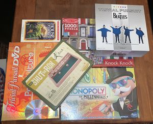 Lot of 6 board games trivial pursuit the Beatles, monopoly, DVD pop culture, shut the box, puzzle and house of danger for Sale in Chicago, IL