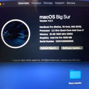 15 Inch MacBook Pro i7 16g Ram for Sale in San Gabriel, CA