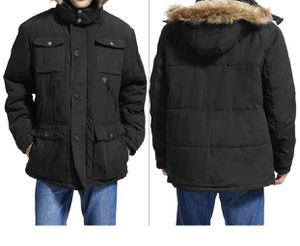 Mens Winter Parka Insulated Warm Jacket Military Coat Faux Fur with Pockets and Detachable Fur Hood for Sale in Belleair, FL
