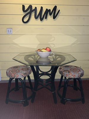 Glass Top Rattan Table & Stools for Sale in Etna, OH