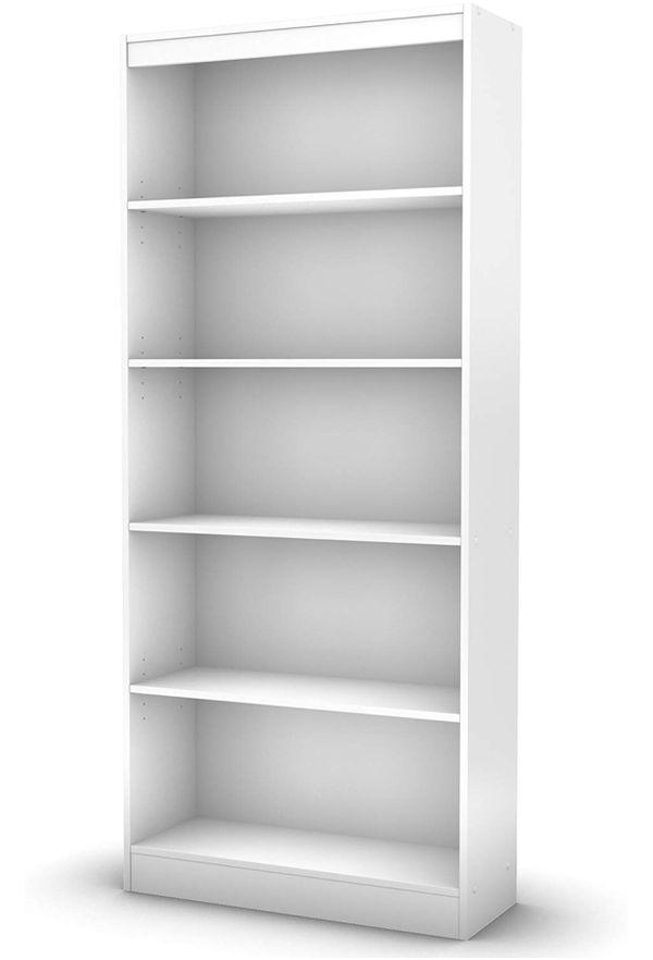 Wide 5-Shelf Bookcase White