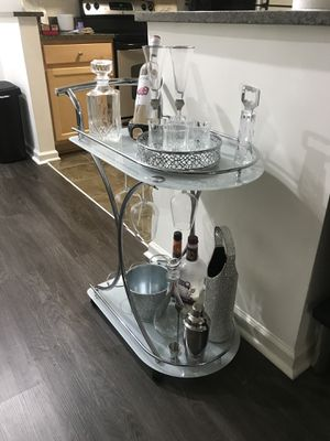 NEW SILVER AND WHITE GLAM BAR CART WITH WINE RACK for Sale in Washington, DC