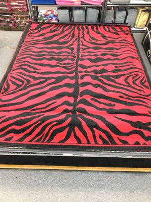 Used, Red color zebra print area rug brand new thin quality for Sale for sale  Salem, OR