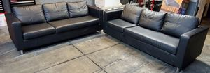 Black Faux Leather Sofa set for Sale in Byron, CA