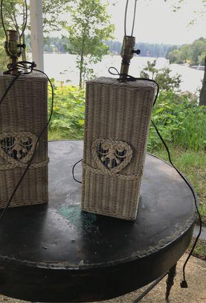 Vintage pair of wicker lamps for Sale in Waterboro, ME