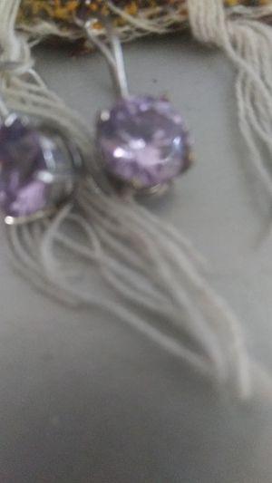 Diamond earrings purple for Sale in Turlock, CA