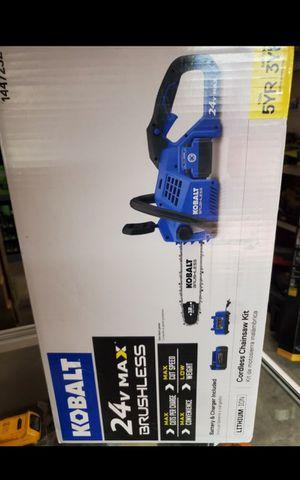 "KOBALT 24V MAX CORDLESS BRUSHLESS 12""IN CHAINSAW KIT BATTERY AND CHARGER BRAND NEW for Sale in San Bernardino, CA"