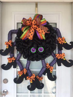 Halloween wreath, spider wreath, fall wreath, Halloween, Halloween decor, spider door wreath for Sale in Benson, NC