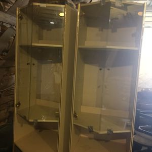 Cream colored glass light up cabinets for Sale in Euclid, OH
