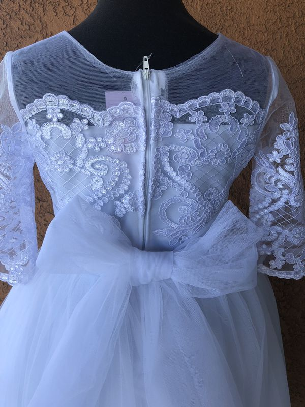 NEW! Size 8 White Dress with tags. Baptism/First Communion/Wedding