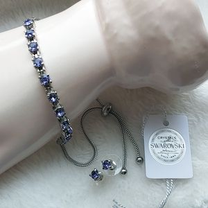 🎁 Tanzanite Swarovski Crystals in Bracelet & Matching Earrings Set for Sale in Pompano Beach, FL
