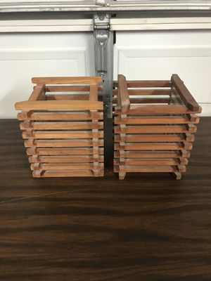 2 CRATE AND BARREL WOODEN CANDLE HOLDERS WITH GLASS INSERTS for Sale in Bartlett, IL