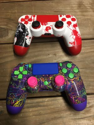 2 Custom Wireless Controllers for Sony PlayStation 4 (PS4), Android, iOS, PS3, and PC for Sale in Moreno Valley, CA