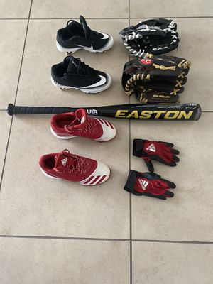 Baseball shoes, gloves and bat for kid for Sale in Tampa, FL