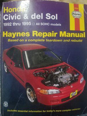 Haynes Honda civic repair manual for Sale in East Los Angeles, CA