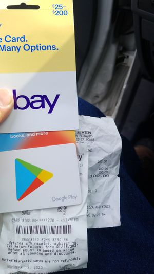 $100ebay card. And $100 google play for $80 each. Still not scratched and have receipts on both. for Sale in Los Angeles, CA