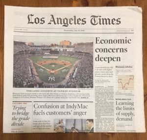 (1 SET) LOS ANGELES TIMES: THE FINAL MLB ALL STAR GAME AT YANKEE STADIUM for Sale in Compton, CA