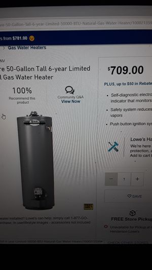 Water heater brand new in box 50 gal from Lowes 6 yr warranty with receipts for Sale in Las Vegas, NV