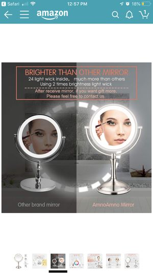"AmnoAmno LED Makeup Mirror-10x Magnifying,7.8"" Double Sided Lighted Vanity Makeup Mirror with Stand, Touch Button Adjustable Light-Cord or Cordles for Sale in Port Hueneme, CA"