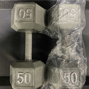 BRAND NEW 50LB PAIR OF CAST IRON HEX DUMBBELLS. Condition is New. Local pickup only. for Sale in Anaheim, CA