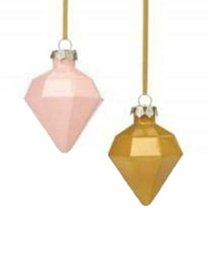 The Season Christmas Holiday Lane 2 Glass Diamond-Shaped Fa To The La Ornament (Pink/Gold) for Sale in Norfolk, VA