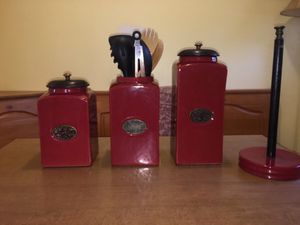Pier 1 kitchen canisters and paper towel holder for Sale in Pittsburgh, PA