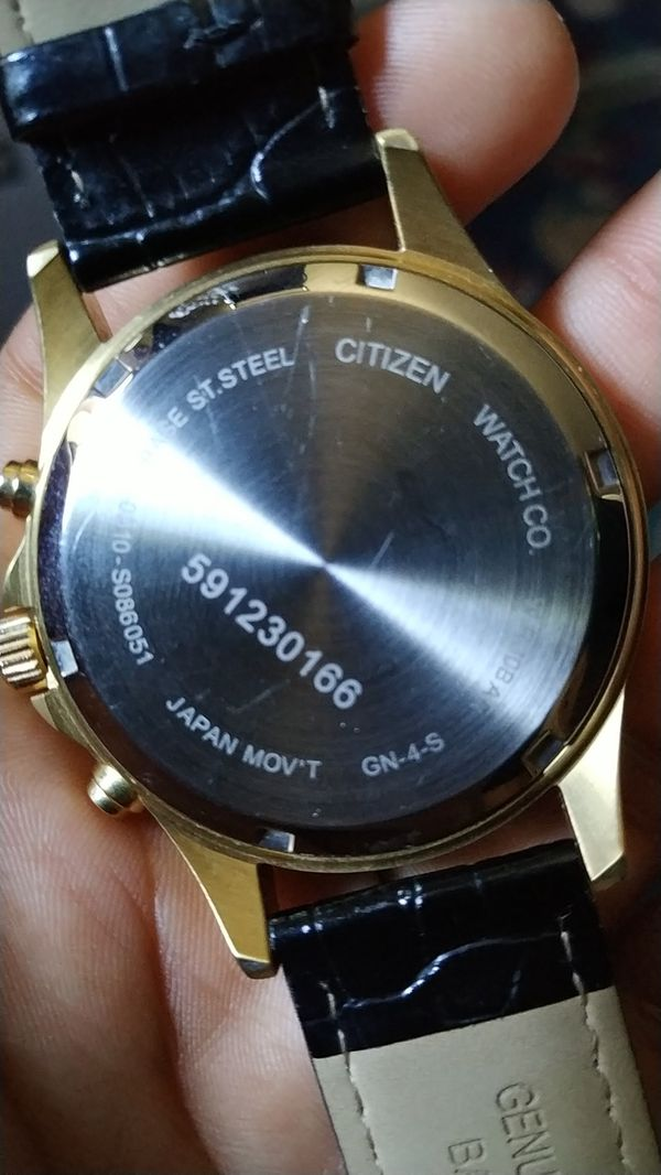 Citizen Gold Watch Black Leather Band