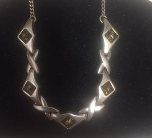 """Beautiful Sterling Silver And Amber Necklace 8.5 Neckline X 2 17"""" for Sale in North Myrtle Beach, SC"""