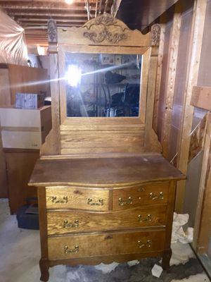 Antique solid oak dresser with mirror for Sale in Dumfries, VA
