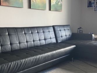 "118.12"" Wide Faux Leather Reversible Sectional Sofa Couch and Chaise for Sale in Fort Lauderdale,  FL"